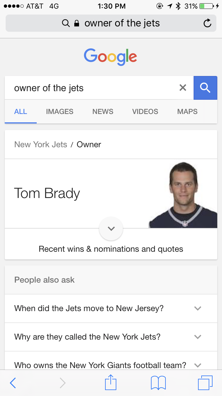 Someone at Google - or a hacker - had some fun at the Jets expense. (Screenshot)