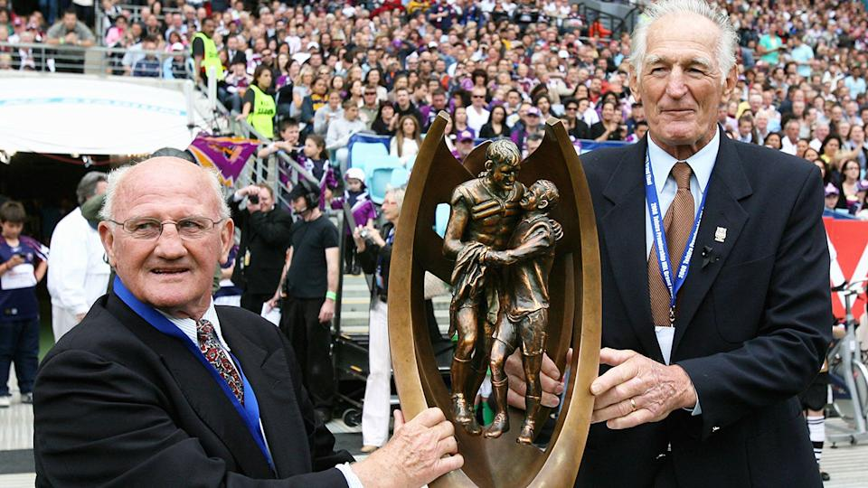 Dragons legend Norm Provan (right) is seen here with fellow league great Arthur Summons in 2008.