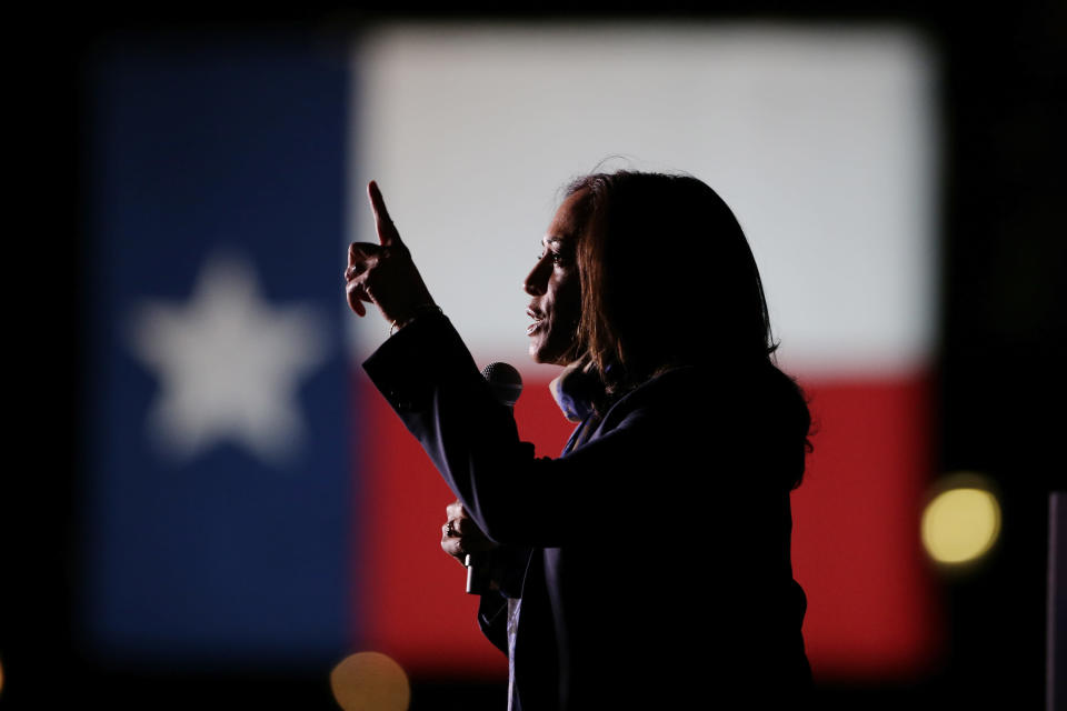 Democratic vice presidential candidate Sen. Kamala Harris, D-Calif., speaks to supporters during a campaign stop at the University of Houston on Friday, Oct. 30, 2020, in Houston. (AP Photo/Michael Wyke)