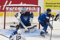 United States' Cole Caufield, not seen, scores on Finland goalie Kari Piiroinen during the second period of a game in preparation for the IIHF World Junior Hockey Championships, in Edmonton, Alberta, Tuesday, Dec. 22, 2020. (Jason Franson/The Canadian Press via AP)