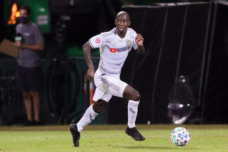 Bradley Wright-Phillips with the ball looks for a teammate.