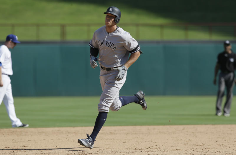 New York Yankees' Aaron Judge runs the bases after hitting a solo home run during the sixth inning of a baseball game against the Texas Rangers in Arlington, Texas, Sunday, Sept. 10, 2017. (AP Photo/LM Otero)