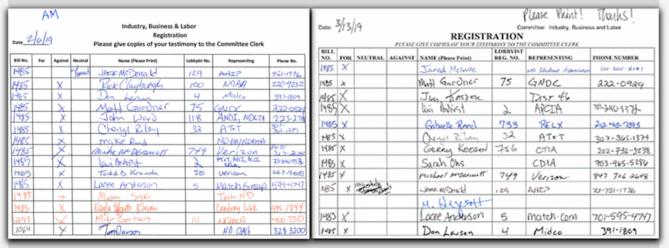 On the left, a sign-in sheet for an Assembly committee hearing in North Dakota shows industry lobbyists opposed to a California-style data privacy bill; on the right, a sign-in sheet from the same committee a little more than a month later shows industry lobbyists supporting the measure after it was turned into a study of the issue.