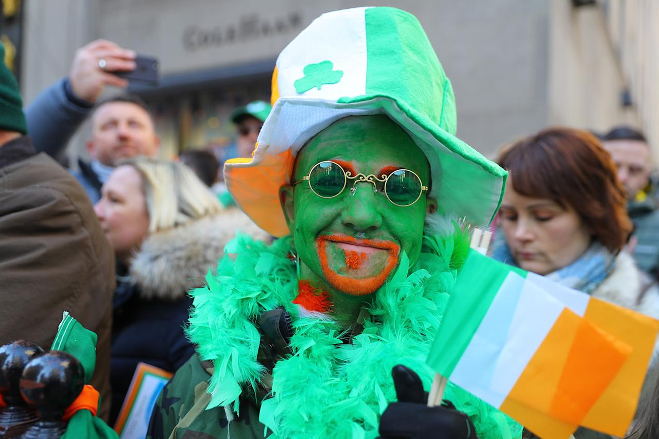 <p>For the parade-goer watching the St. Patrick's Day Parade in New York City, green is the skin tone of choice. (Photo: Gordon Donovan/Yahoo News) </p>