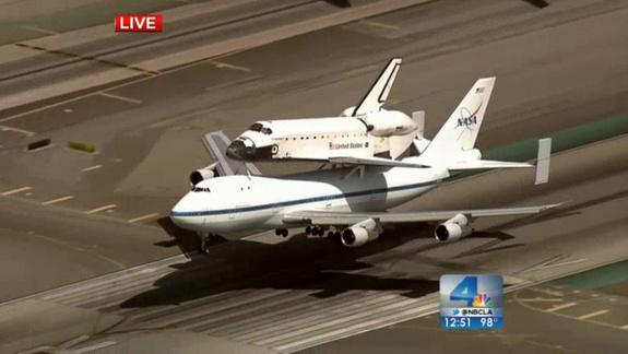 The Shuttle Carrier Aircraft carrying shuttle Endeavour landed at Los Angeles International Airport on September 21, 2012. The shuttle made a grand tour of California before landing in LA. Endeavour will go on display at the California Science