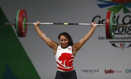 Weightlifting - Gold Coast 2018 Commonwealth Games - Women's 63kg Final - Carrara Sports Arena 1 - Gold Coast, Australia - April 7, 2018. Zoe Smith of England competes. REUTERS/Paul Childs