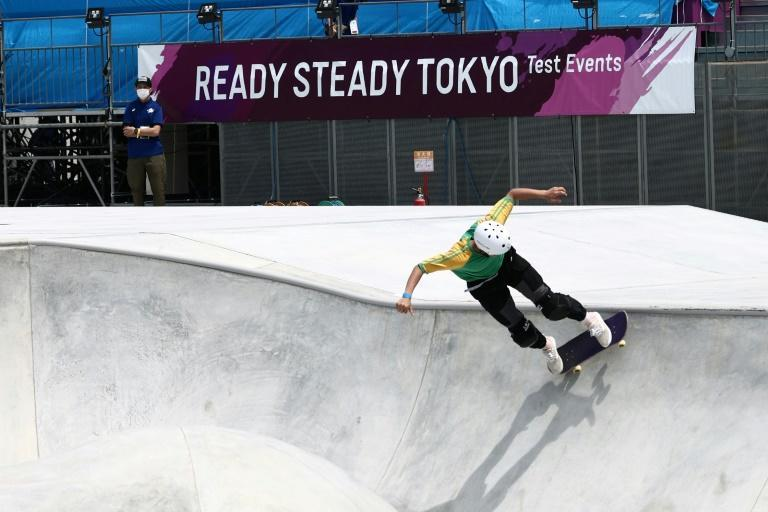 Ready to roll: Sota Tsuji of Japan competing in a test event at the Olympic skateboarding venue in May