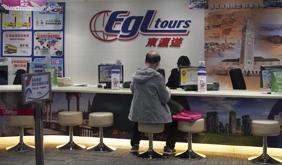 The office of EGL Tours travel agency in Causeway Bay. The travel agency had to let go of more than 100 workers in recent months. Photo: Felix Wong