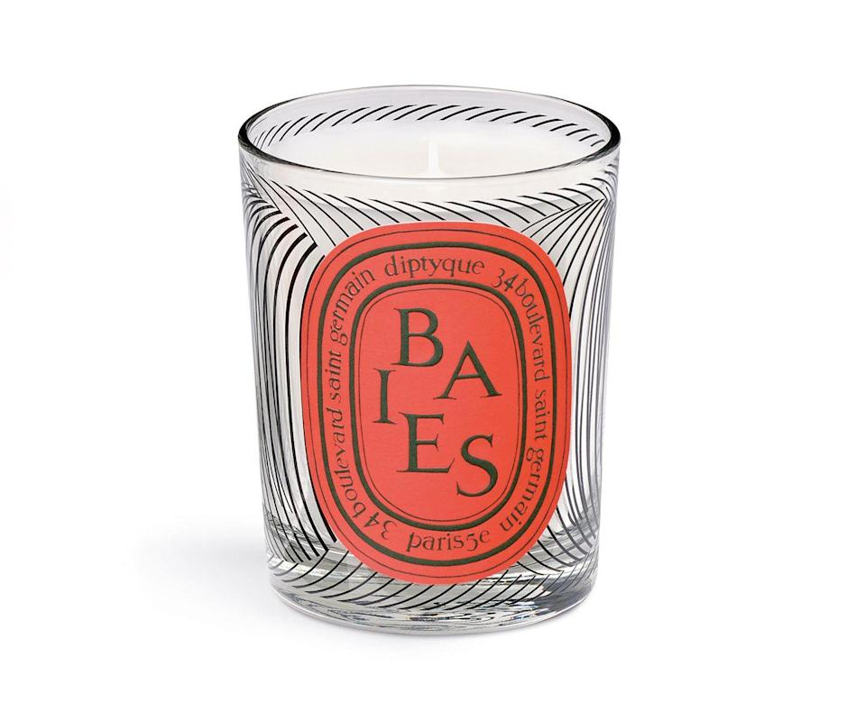 """<p>Diptyque Baies Candle</p><p>£56</p><p>Spacenk.com</p><p><a class=""""link rapid-noclick-resp"""" href=""""https://go.redirectingat.com?id=127X1599956&url=https%3A%2F%2Fwww.spacenk.com%2Fuk%2Ffragrance%2Fhome-fragrance%2Fcandle%2Fscented-candle-graphic-collection-baies-MUK200028757.html&sref=https%3A%2F%2Fwww.harpersbazaar.com%2Fuk%2Fbeauty%2Ffragrance%2Fg30698193%2Fbest-scented-candles%2F"""" rel=""""nofollow noopener"""" target=""""_blank"""" data-ylk=""""slk:SHOP NOW"""">SHOP NOW </a></p><p>Diptyque's limited-edition candles come with weighty collector's appeal, and this season's offering is well worth snapping up. </p><p>The Graphics collection, launched in celebration of the brand's 60th Anniversary, sees four of the brand's most iconic scents reworked with a striking graphic votive. Our choice has to be the best-selling berry and rose blend of Baies. </p>"""