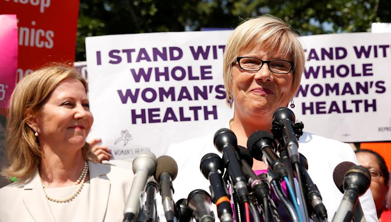 Amy Hagstrom Miller, president and CEO of Whole Woman's Health, speaks outside the U.S. Supreme Court after the court handed a victory to abortion rights advocates. (Kevin Lamarque/Reuters)
