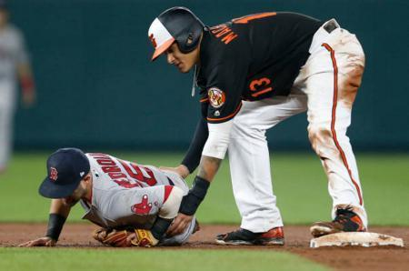 Manny Machado of the Orioles checks on Red Sox second baseman Dustin Pedroia following an aggressive slide on April 21. The slide would set off a season-long feud between the teams. (Getty Images)
