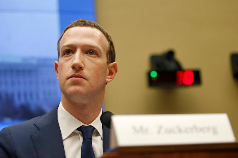 Facebook CEO Mark Zuckerberg testifies for a House Energy and Commerce Committee hearing regarding the company's use and protection of user data on Capitol Hill in Washington, U.S., April 11, 2018. REUTERS/Leah Millis