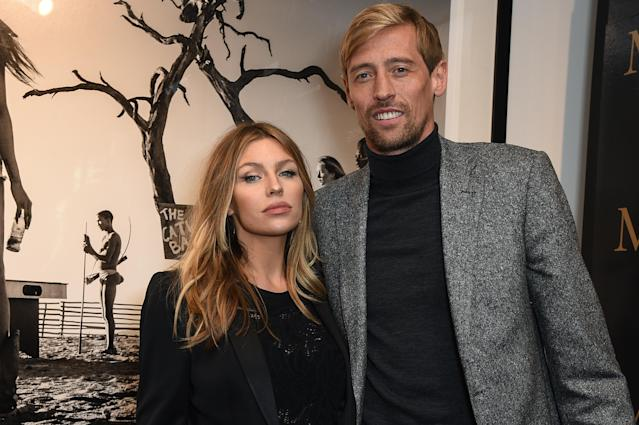 Abbey Clancy (L) and Peter Crouch attend the private view of leading wildlife photographer, David Yarrow's exhibition at Maddox Gallery Westbourne Grove, in association with CIROC, Rolls Royce and VICTOR on September 14, 2017 in London, England. (Photo by David M. Benett/Dave Benett/Getty Images for Maddox Gallery)