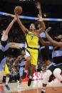 Indiana Pacers' Malcolm Brogdon (7) drives to the basket against the Cleveland Cavaliers in the second half of an NBA basketball game, Saturday, Feb. 29, 2020, in Cleveland. Indiana won 113-104. (AP Photo/Tony Dejak)