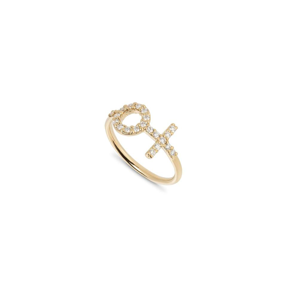 """<p>The jewellery brand Matilde is supporting IWD by donating 10 per cent of all sales of their Deusa ring (Portuguese for """"goddess"""") to Plan International, a charity promoting equal opportunities across the world. </p><p> <a class=""""link rapid-noclick-resp"""" href=""""https://matildejewellery.com/pages/international-womens-day"""" rel=""""nofollow noopener"""" target=""""_blank"""" data-ylk=""""slk:SHOP HERE"""">SHOP HERE</a> </p>"""