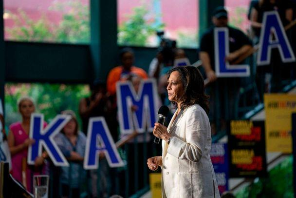 PHOTO: 2020 Democratic Presidential hopeful Senator Kamala Harris speaks at a campaign rally in Davenport, Iowa on August 12, 2019. (Alex Edelman/AFP/Getty Images)