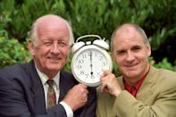 Frank Bough (left) will be back on the dawn patrol presenting London Newstalk Radio's weekend wake-up show. Brian Hayes (right) will present the show from Monday to Friday. (Photo by Sean Dempsey - PA Images/PA Images via Getty Images)
