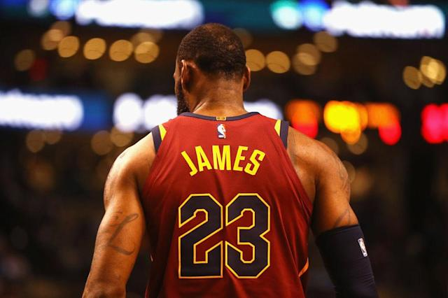 """You might not see <a class=""""link rapid-noclick-resp"""" href=""""/nba/players/3704/"""" data-ylk=""""slk:LeBron James"""">LeBron James</a> in wine and gold again. (Getty Images)"""