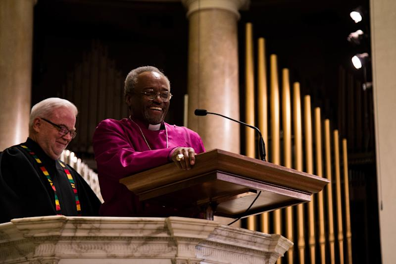 Bishop Michael Curry, presiding bishop of the Episcopal Church, preaches at theNational City Christian Church in Washington, D.C., before a march to the White House. (Rebekah Fulton/Sojourners)