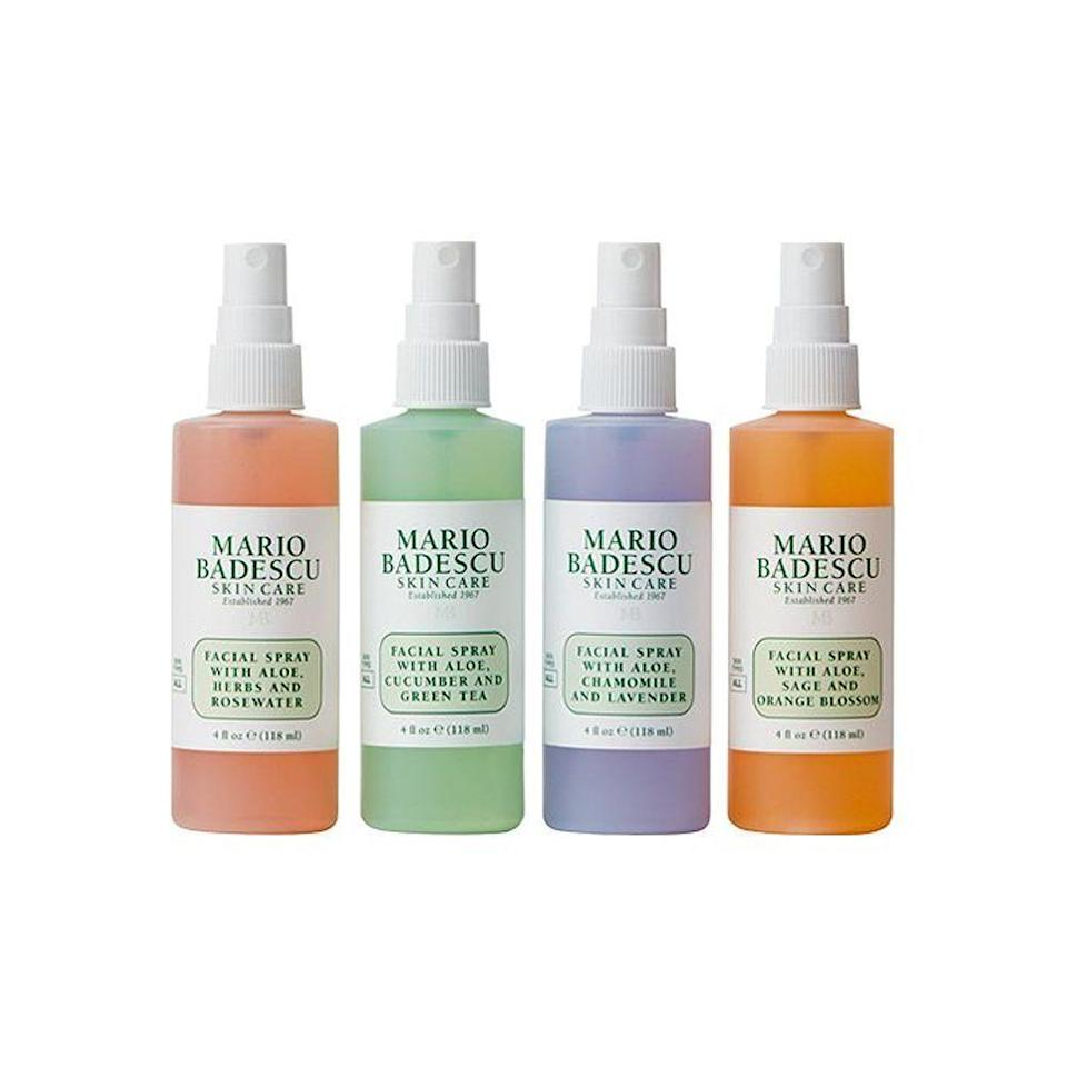 """<p><strong>Mario Badescu</strong></p><p>amazon.com</p><p><strong>$14.00</strong></p><p><a href=""""https://www.amazon.com/dp/B074ZB7LWJ?tag=syn-yahoo-20&ascsubtag=%5Bartid%7C2089.g.154%5Bsrc%7Cyahoo-us"""" rel=""""nofollow noopener"""" target=""""_blank"""" data-ylk=""""slk:Shop Now"""" class=""""link rapid-noclick-resp"""">Shop Now</a></p><p>Beauty buffs know the magic of Mario Badescu's cult-favorite <a href=""""http://www.bestproducts.com/beauty/g3056/hydrating-face-mist-spray/"""" rel=""""nofollow noopener"""" target=""""_blank"""" data-ylk=""""slk:facial mists"""" class=""""link rapid-noclick-resp"""">facial mists</a>. A quick spritz keeps skin hydrated throughout the day, and they can double as makeup setting sprays, too. </p>"""