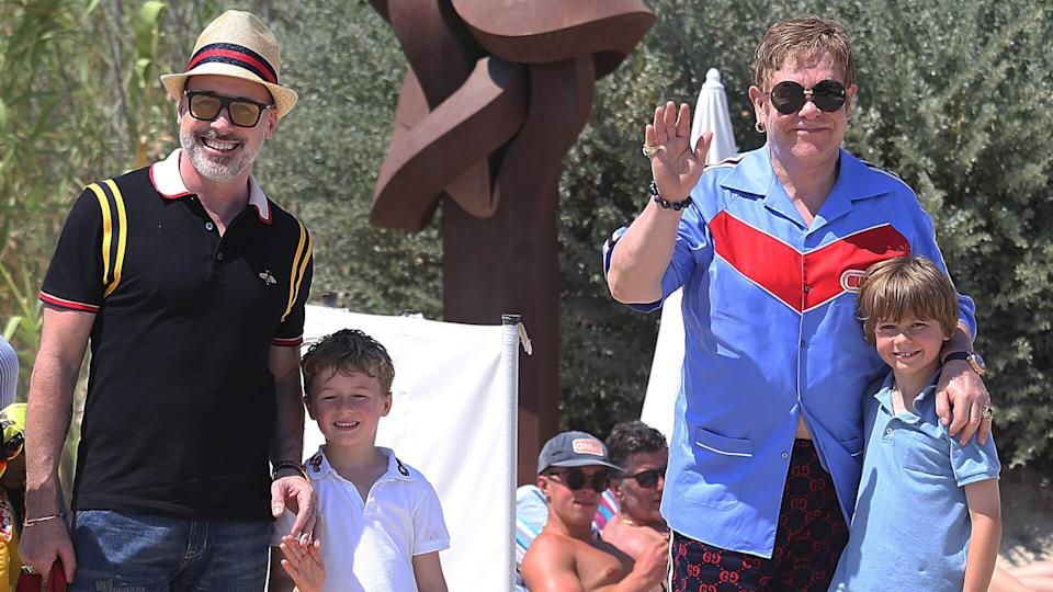 Mandatory Credit: Photo by Morane/Shutterstock (9754650ae)Sir Elton John and David Furnish with sons Elijah Furnish-John and Zachary Furnish-JohnElton John, David Furnish, Neil Patrick Harris and David Burtka out and about, St Tropez, France - 10 Jul 2018.