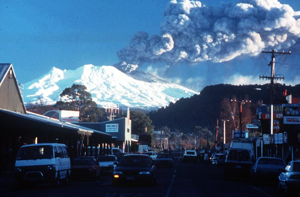 Ohakune township at the base of Mount Ruapehu after it had erupted on June 18, 1996. Source: AAP