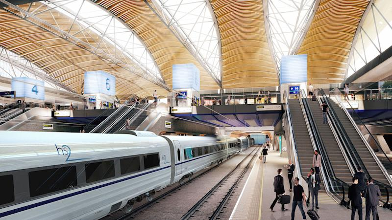 An artist's impression of the proposed HS2 station at Euston, London (Picture: PA)