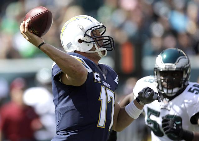 San Diego Chargers' Philip Rivers looks to pass during the first half of an NFL football game against the Philadelphia Eagles, Sunday, Sept. 15, 2013, in Philadelphia. (AP Photo/Matt Rourke)