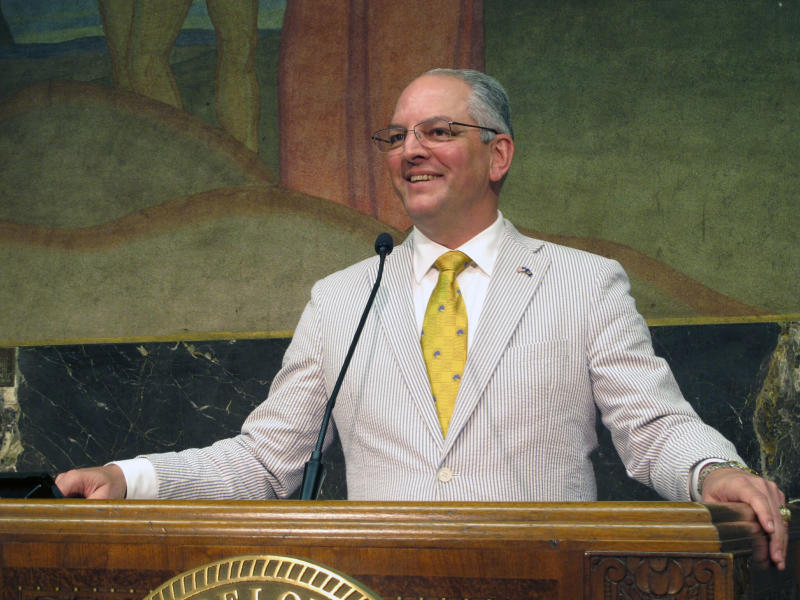 FILE - In this June 6, 2019 file photo, Louisiana's Democratic Gov. John Bel Edwards smiles as he describes the end of a legislative session that saw his teacher pay raise and education spending plans win final passage, in Baton Rouge, La. Edwards moved quickly to expand Medicaid when he took office in 2016. His state is the only one in the Deep South to embrace that signature piece of Barack Obama's health law. And the Medicaid expansion program isn't going anywhere even if Edwards is ousted by a Republican in this fall's election. Instead, his two main opponents Ralph Abraham and Eddie Rispone are attacking Edwards' hallmark achievement on management, not the program's existence. (AP Photo/Melinda Deslatte, File)