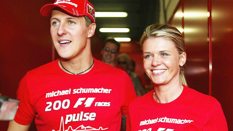 Michael Schumacher and wife Corrina, pictured here at the Spanish F1 Grand Prix in 2004.