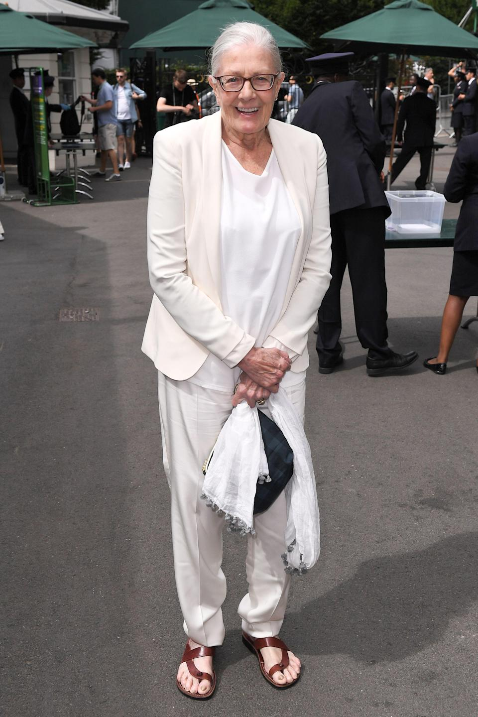 <p>On 10 July, Vanessa Redgrave attended the prestigious tournament in a fashionable take on tennis whites. <em>[Photo: Rex]</em> </p>