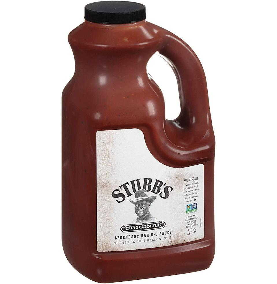 """<p><strong>Stubb's</strong></p><p>amazon.com</p><p><strong>$16.46</strong></p><p><a href=""""https://www.amazon.com/dp/B0756KXQGW?tag=syn-yahoo-20&ascsubtag=%5Bartid%7C10054.g.12222340%5Bsrc%7Cyahoo-us"""" rel=""""nofollow noopener"""" target=""""_blank"""" data-ylk=""""slk:Buy"""" class=""""link rapid-noclick-resp"""">Buy</a></p><p>Oh yes, a gallon of BBQ sauce is exactly what the doctor ordered. </p>"""