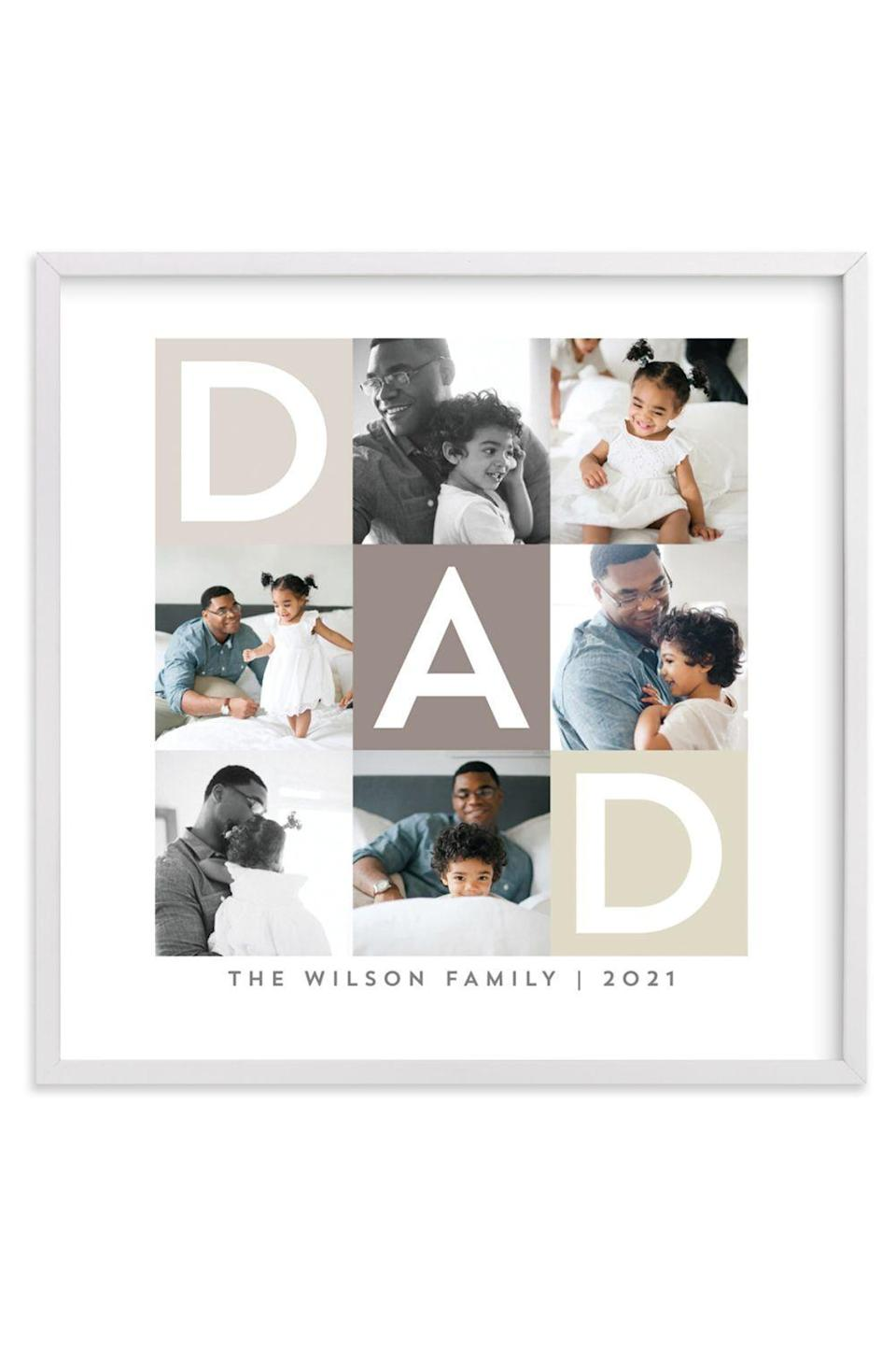 """<p><strong>Minted</strong></p><p>minted.com</p><p><strong>$29.00</strong></p><p><a href=""""https://go.redirectingat.com?id=74968X1596630&url=https%3A%2F%2Fwww.minted.com%2Fproduct%2Fphoto-art%2FMIN-MUR-GCP%2Fbest-dad-ever-boxes&sref=https%3A%2F%2Fwww.oprahdaily.com%2Flife%2Fg26961897%2Fgifts-for-new-dads%2F"""" rel=""""nofollow noopener"""" target=""""_blank"""" data-ylk=""""slk:Shop Now"""" class=""""link rapid-noclick-resp"""">Shop Now</a></p><p>One thing every parent knows for sure: You can never have too many photos of your little ones—which is exactly why he'll love this thoughtful gift. Simply upload six of his favorite images and Minted will turn them into a custom piece of art that he'll treasure for years to come.<br></p>"""