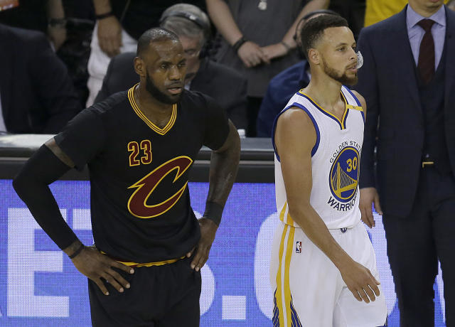 "Stephen Curry urged others to not ""disrespect"" the Cleveland Cavaliers' supporting cast while LeBron James almost singlehandedly led them to the NBA Finals. (AP)"
