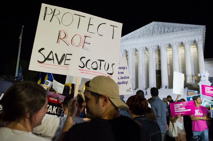 Protesters gathered in front of the Supreme Court on Monday evening after President Trump announced Brett Kavanaugh as his Supreme Court nominee. (Photo: Cliff Owen/AP)