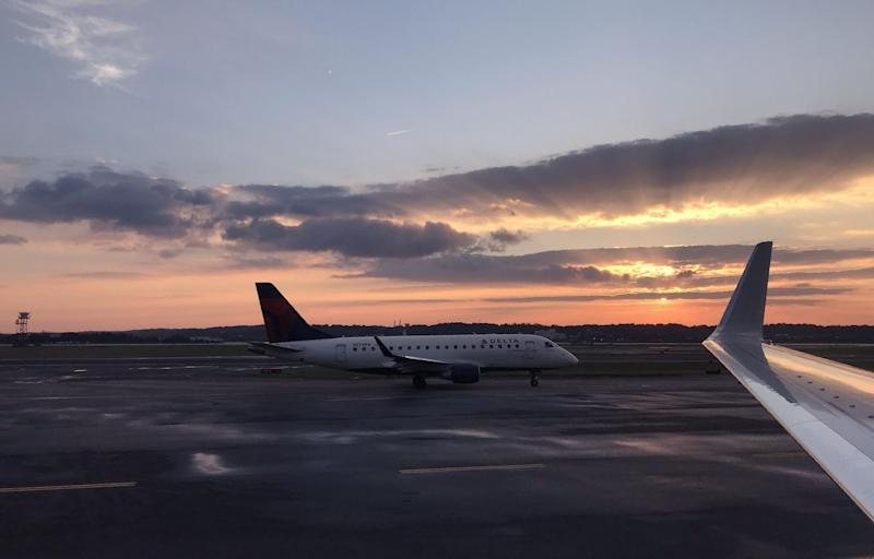 A Delta Airlines planes taxis at Ronald Reagan Washington National Airport in Arlington, Virginia: DANIEL SLIM/AFP/Getty Images