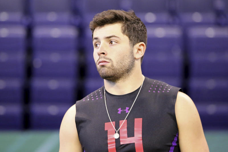 Baker Mayfield maintained his high level of confidence this past week at the NFL scouting combine. (AP)
