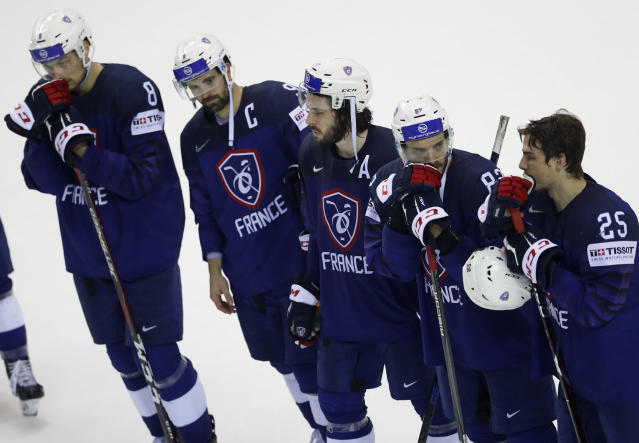 Players of France after loosing the Ice Hockey World Championships group A match between France and Great Britain at the Steel Arena in Kosice, Slovakia, Monday, May 20, 2019. (AP Photo/Petr David Josek)
