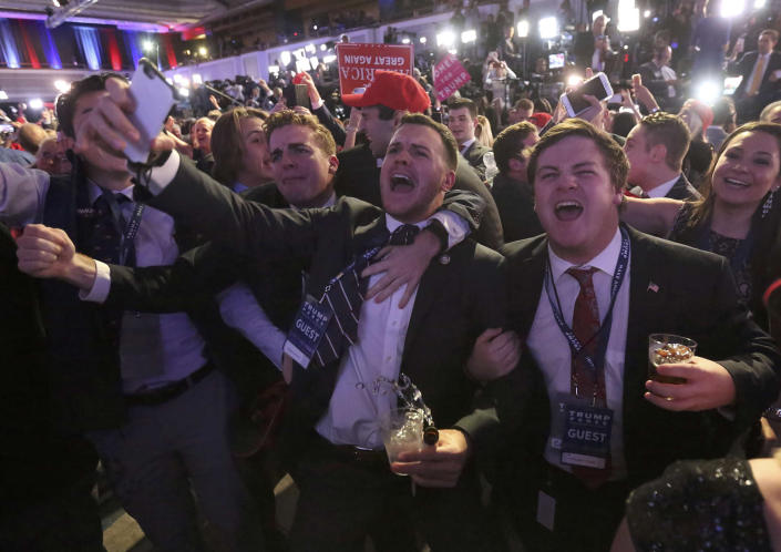 <p>Supporters of U.S. Republican presidential nominee Donald Trump react at his election night rally in Manhattan, New York, Nov. 8, 2016. (Photo: Carlo Allegri/Reuters) </p>