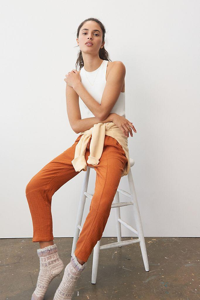 """<br><br><strong>Saturday/Sunday Anthropologie</strong> Vera Gauzy Lounge Pants, $, available at <a href=""""https://go.skimresources.com/?id=30283X879131&url=https%3A%2F%2Fwww.anthropologie.com%2Fshop%2Fvera-gauzy-lounge-pants"""" rel=""""nofollow noopener"""" target=""""_blank"""" data-ylk=""""slk:Anthropologie"""" class=""""link rapid-noclick-resp"""">Anthropologie</a>"""