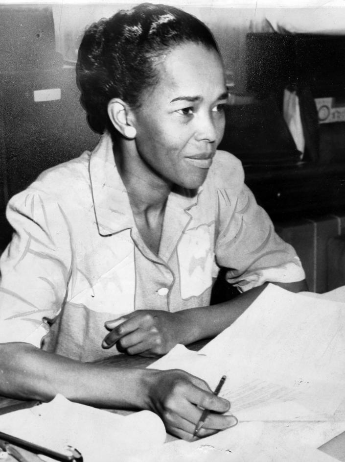 A photograph of Ella Baker as NAACP Hatfield representative, behind a desk with paperwork, Sept. 18, 1941.