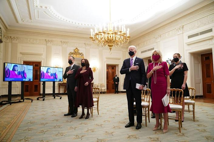 <p>The morning after the inauguration, Dr. Jill Biden joined her husband, President Joe Biden, in the State Dining Room of the White House to watch the virtual Presidential Inaugural Prayer Service. She wore a raspberry-hued dress, a matching mask, pearls, and nude heels.<br></p>