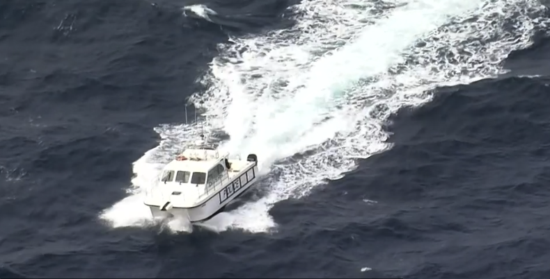 A police boat off the coast of NSW.