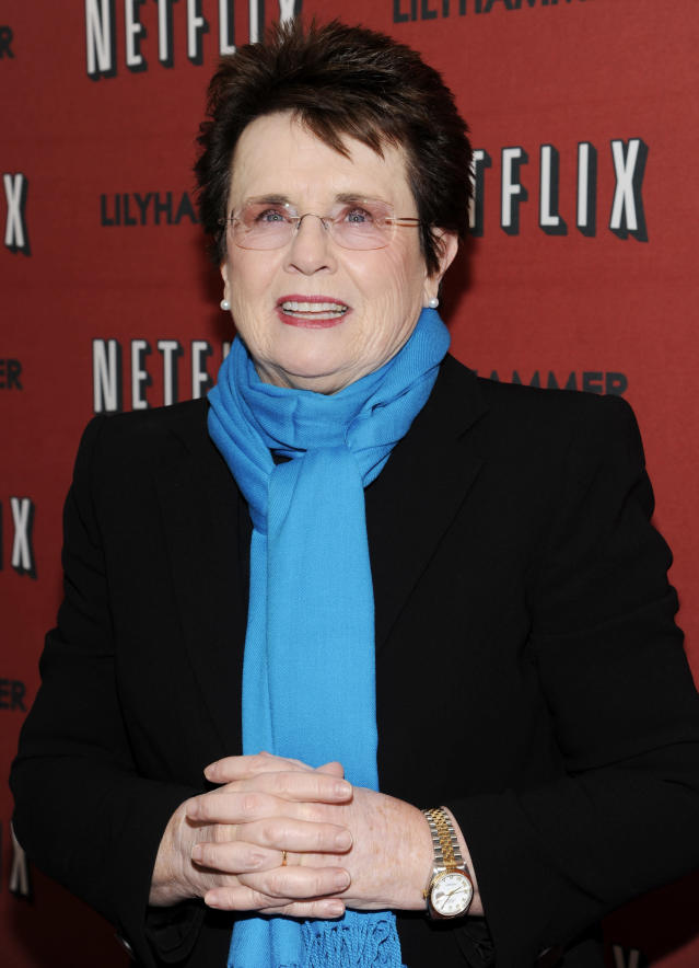 """FILE - In this Feb. 1, 2012 file photo, tennis great Billie Jean King attends the premiere of a Netflix original series """"Lilyhammer"""" at the Crosby Street Hotel in New York. King, who turns 70 in November, has been celebrating the 40th anniversary of equal prize money at the U.S. Open, the formation of the WTA tour and her victory against Bobby Riggs in the """"Battle of the Sexes"""" match. (AP Photo/Evan Agostini, File)"""