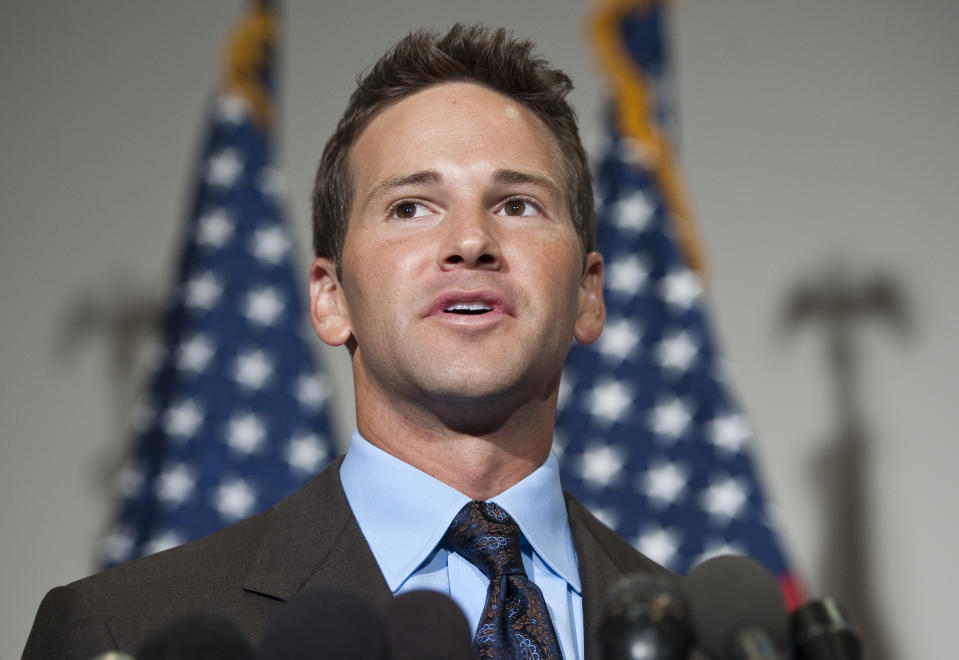 """UNITED STATES - JULY 16: Rep. Aaron Schock, R-Ill., speaks to the media following the Republicans' """"America Speaking Out"""" forum on job creation on Friday, July 16, 2010. (Photo By Bill Clark/Roll Call via Getty Images)"""