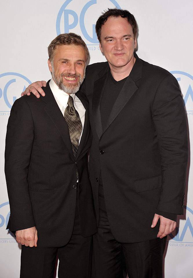 """<a href=""""http://movies.yahoo.com/movie/contributor/1809655132"""">Christoph Waltz</a> and <a href=""""http://movies.yahoo.com/movie/contributor/1800021942"""">Quentin Tarantino</a> at the 21st Annual Producers Guild Awards in Hollywood, California - 01/24/2010"""