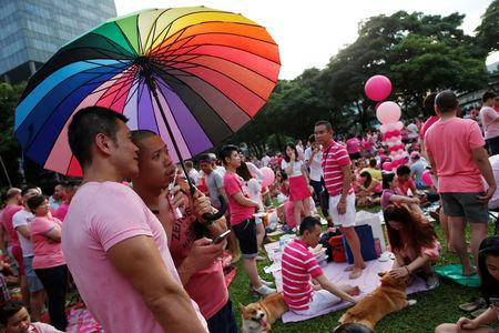 FILE PHOTO: Participants dressed in pink enjoy a picnic before taking part in the forming of a giant pink dot at the Speakers' Corner in Hong Lim Park