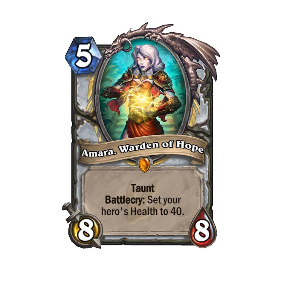 <p>Missing Reno Jackson already? Amara, Warden of Hope is the mustachioed man's significantly more powerful cousin. You'll have to complete the 'Awaken the Master' Quest card to get her, but her effect on the board for a mere five mana is absolutely ridiculous. This is the first Hearthstone card to allow your health bar to go above 30. </p>