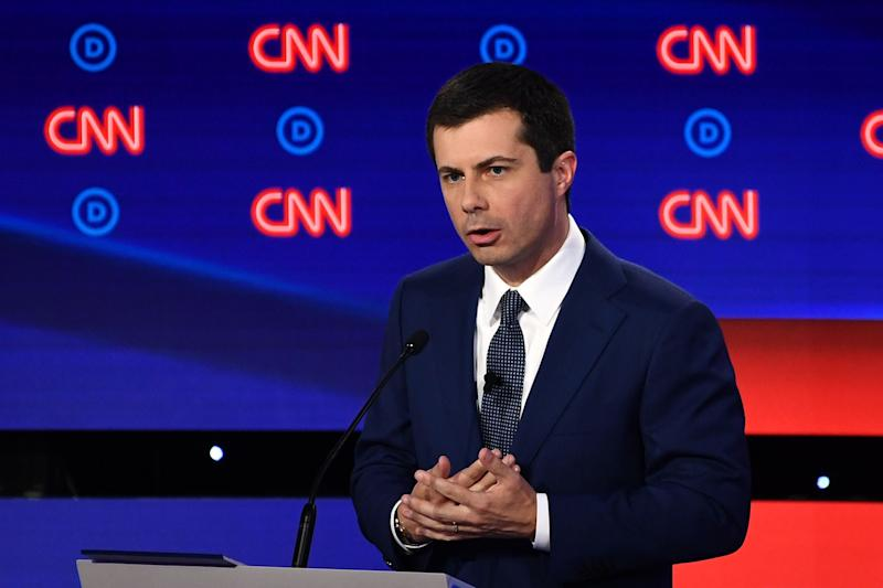 Democratic presidential hopeful Mayor of South Bend, Indiana, Pete Buttigieg delivers his closing statement during the first round of the second Democratic primary debate of the 2020 presidential campaign season hosted by CNN at the Fox Theatre in Detroit, Michigan on July 30, 2019. (Photo by Brendan Smialowski / AFP)BRENDAN SMIALOWSKI/AFP/Getty Images ORG XMIT: Second ro ORIG FILE ID: AFP_1J802M