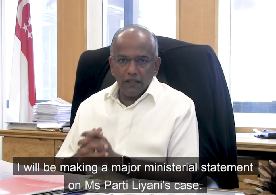 Law and Home Affairs Minister K Shanmugam will deliver a Ministerial Statement on the Parti Liyani case on 4 November 2020. (SCREENSHOT: Facebook)